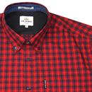 BEN SHERMAN Mod House Check Gingham Shirt RED
