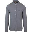 Far afield twombly blue herringbone grandad shirt blue