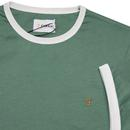 Groves FARAH Retro Mod Ringer Tee - Green Biscuit