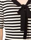 Lacanau FEVER 1960s Mod Stripe Ribbed Bow Dress