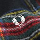 FRED PERRY Black Stewart Tartan Wool Scarf