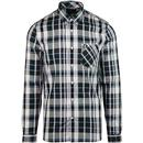 Fred perry bold check button down mod shirt navy