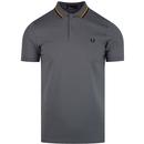 Fred Perry bomber stripe pique mod polo shirt lead