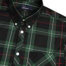 FRED PERRY Mod Button Down Tartan Shirt (Green)