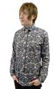GIBSON LONDON MENS LIBERTY PRINT FABRIC SHIRT MOD