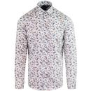Guide London 60s button down paisley shirt white