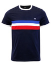 FRED PERRY STRIPE PANEL RINGER TEE carbon blue