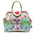 Irregular choice here kitty kitty floral cat bag green pink