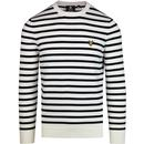 Lyle and scott retro breton stripe jumper snow white