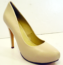 LACEYS QUIBBLE HEELS RETRO IVORY RETRO COURT SHOES
