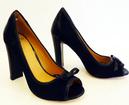 Rubina LACEYS Retro 60s Mod Suede Peep Toe Shoes B