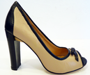 Rubina LACEYS Retro Sixties Mod Peep Toe Shoes N