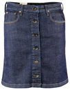 LEE RETRO MOD SIXTIES BUTTON THROUGH DENIM SKIRT