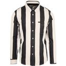 Lee button down collar striped men's shirt black
