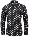 MADCAP PENNY DOT LANE RETRO MOD 60s BLACK SHIRT