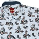 Neal MERC Retro Sixties S/S Paisley Shirt BOY BLUE