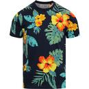 ORIGINAL PENGUIN Retro Exploded Floral Print Tee Dark Sapphire