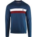 Pretty green chest stripe crew sweat blue
