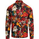 Pretty green floral print shirt orange