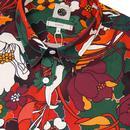 PRETTY GREEN 60s Mod Bold Floral Print Shirt (O)