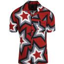Pretty green star print short sleeve shirt red