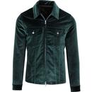 pretty green zip through velvet western retro jacket green