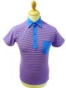 Mavers Mens Retro Sixties Stripe Mod Polo Shirt MB