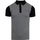 Ska and soul checked black contrast polo