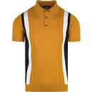 Ska & Soul stripe front cable knit polo gold