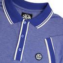 SKA & SOUL Twin Tipped Mod Pique Polo Shirt BLUE