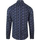 Ground TOOTAL Floral Print 1960s Mod Shirt Navy