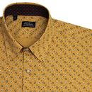 Paisley Print TOOTAL 60s Button Down Shirt In Gold