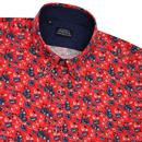 Ground TOOTAL Floral Print Button Down Shirt Red