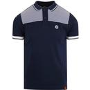 Trojan records border stripe polo navy