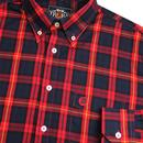 TROJAN RECORDS Retro Mod Men's Tartan Shirt in Red