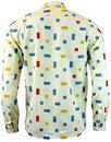 TUKTUK Retro 70s Mens Mondrian Colour Block Shirt