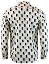 TUKTUK Retro 1970s Mens Geo Two Tone Tile Shirt