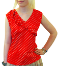 TULLE WOMENS RETRO VINTAGE POLKA DOT TOP MOD 60s
