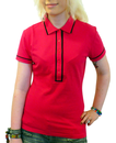 WOMENS RETRO MOD POLO TOP PINK PIPED POLO 60s 70s