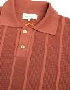 Aaron AFIELD Mens Retro 60s Knitted Crepe Polo Br