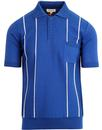 afield alfaro knitted raised stripe mod retro polo