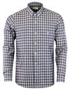afield button down shirt triangle check grey mod