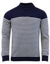 afield combin stripe knit jumper navy white mod