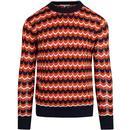 afield sharpless knit geo jumper orange blue