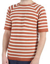 Afield Retro 60s Mod Striped Knitted T-Shirt Red