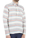 Afield Retro 70s Pop Over Overhead Shirt Striped