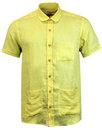 afield santos retro slub linen penny collar shirt