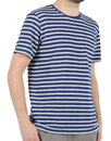 Afield Retro 70s Mod Terry Stripe T-Shirt Navy