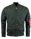 alpha industries 70s mod ma1 bomber jacket petrol