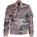 alpha industries womens bomber zip jacket pink pastel camo
